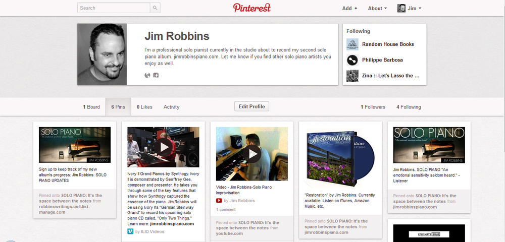 "Discover all things ""solo piano"" on my new  Pinterest  page."