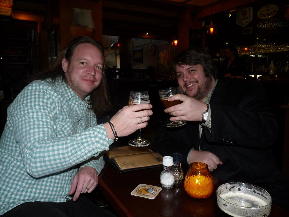 With Rob Strefford in 2012, working our way down the beer menu.