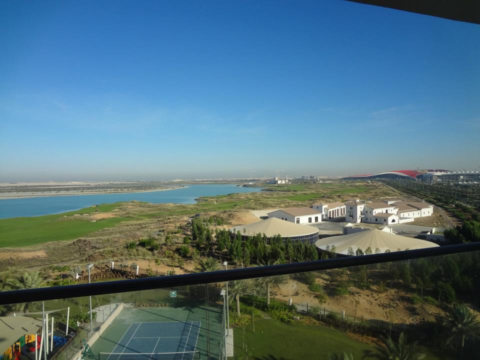 View from the balcony, with the big red Ferrari World building in the background.