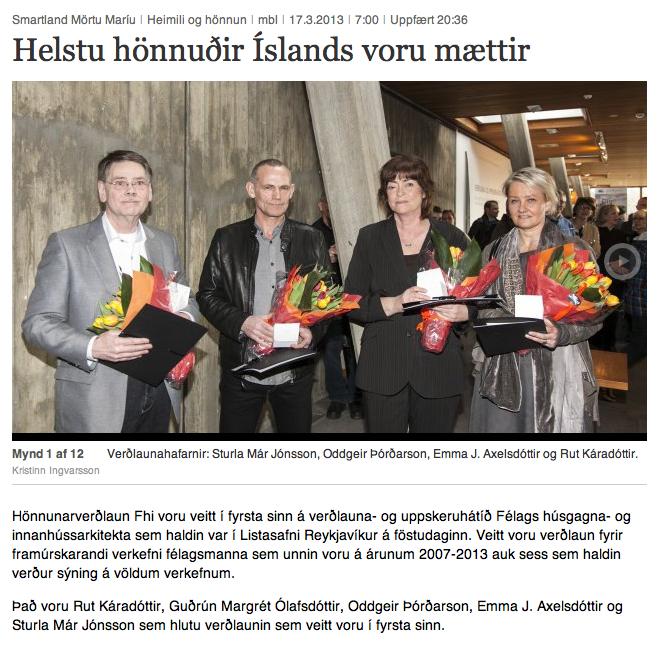 mbl.is -Design Award -  Hönnunarverðlaun FHI  2013