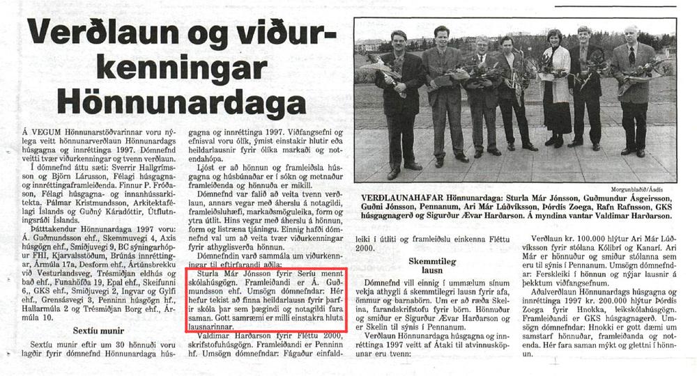Design Award -  Hönnunarverðlaun  1997
