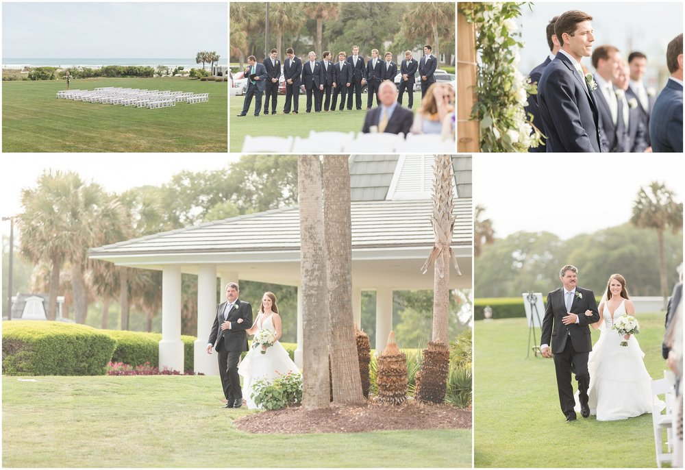 The sun literally starting shining as Allison walked down the aisle with her step-father. During the ceremony the clouds rolled back in, but right before their kiss, the clouds broke and the sun beamed down! Like really?! Could it be anymore perfect!?