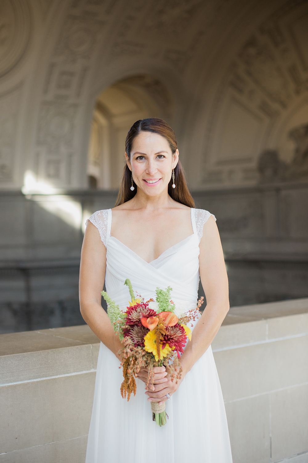 Bride portrait after eloping in San Francisco City Hall.
