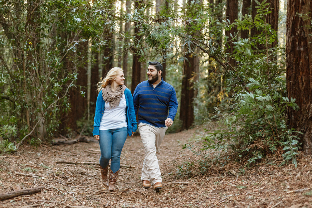 Couple's engagement session in the redwoods in Oakland California.