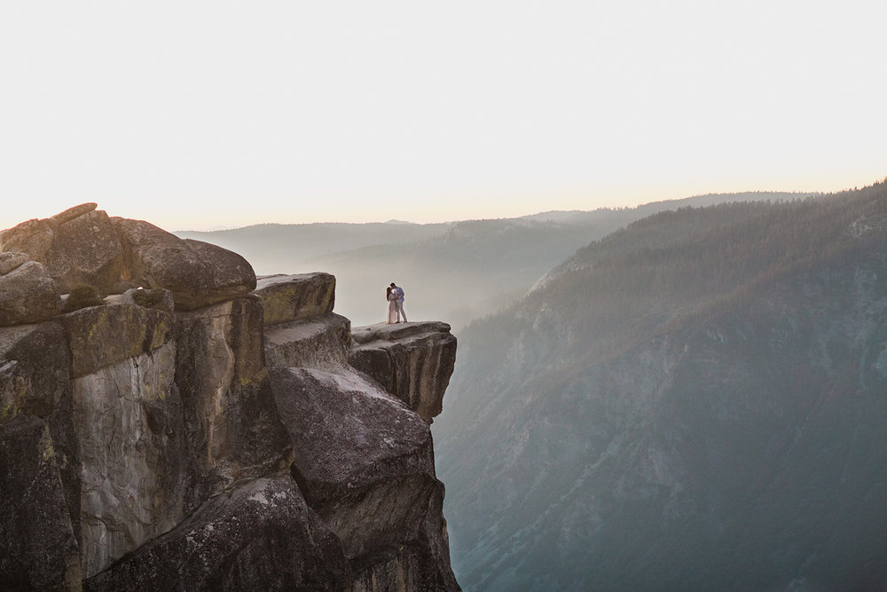 Miguel and Dulce's sunset engagement session in Yosemite.