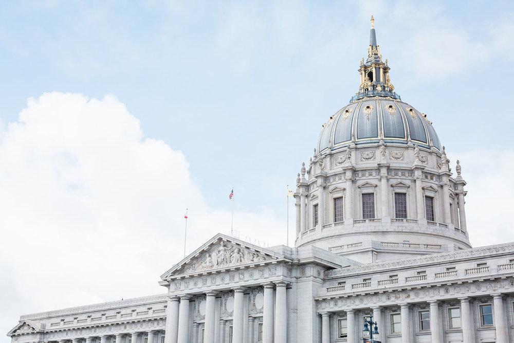 Exterior of San Francisco City Hall.