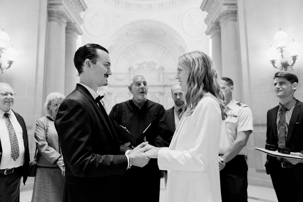 Intimate wedding ceremony in San Francisco City Hall.
