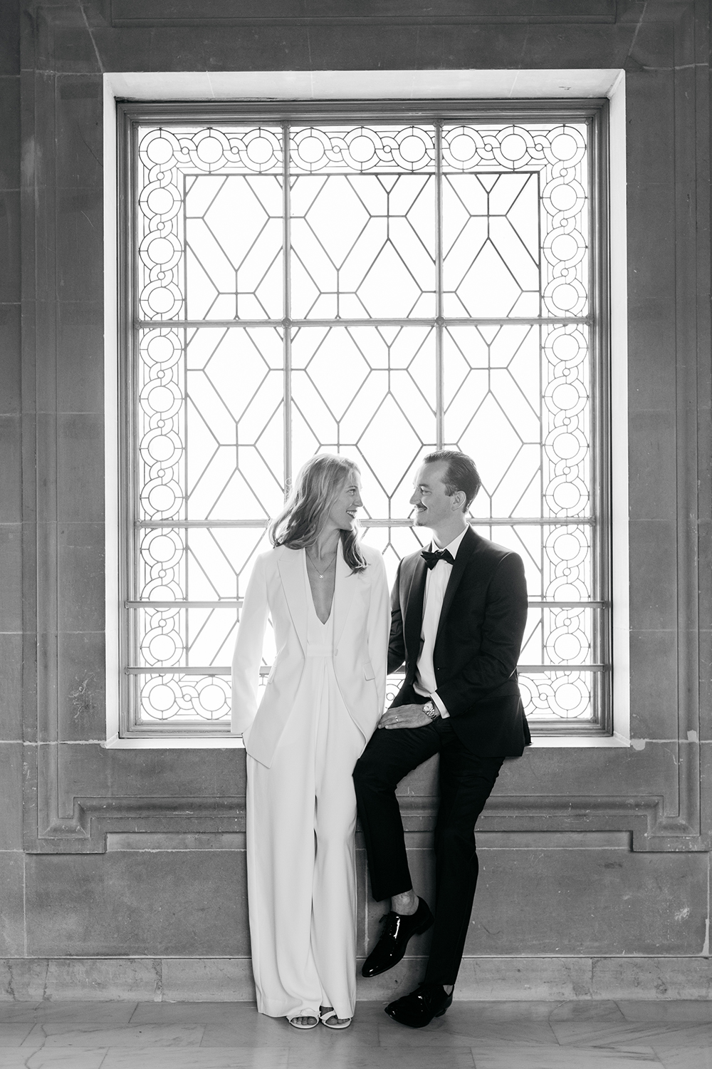 Elegant portraits of classic bride and groom during their San Francisco City Hall wedding.