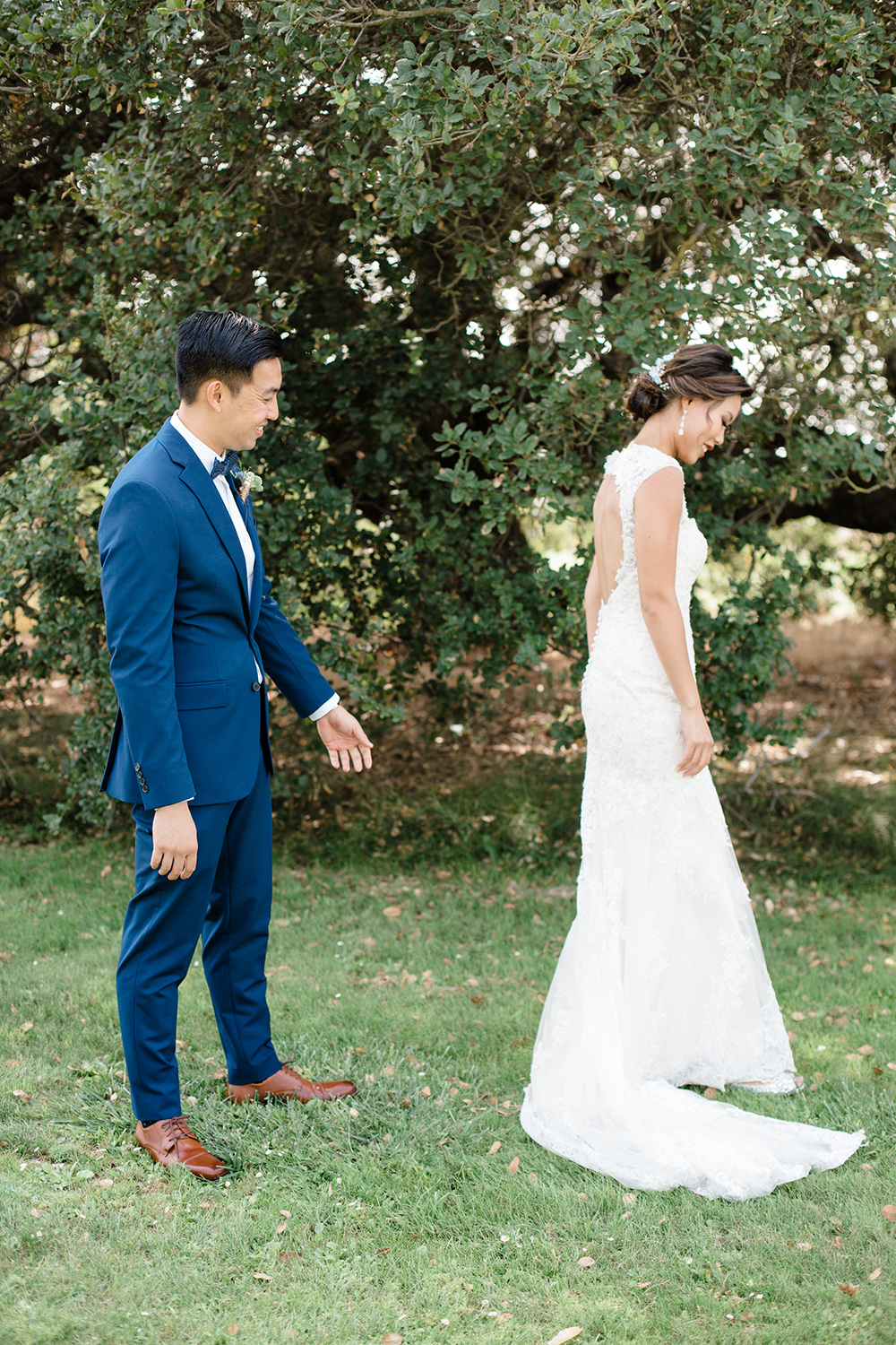 wedding photography of first look at eagle vines golf club in napa california