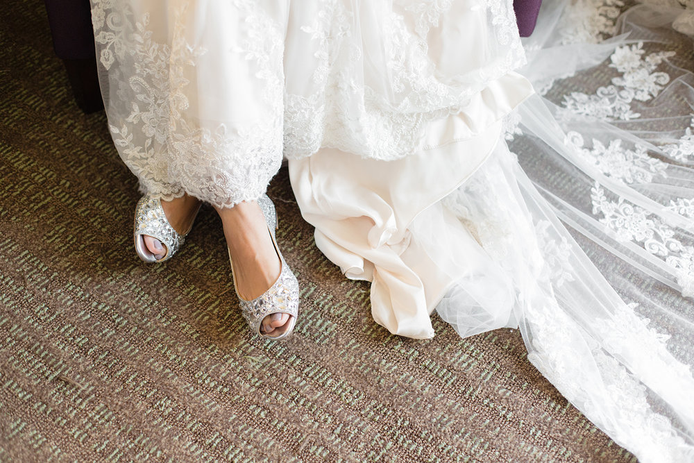 wedding photography of bride shoes from her wedding at eagle vines golf club in napa california