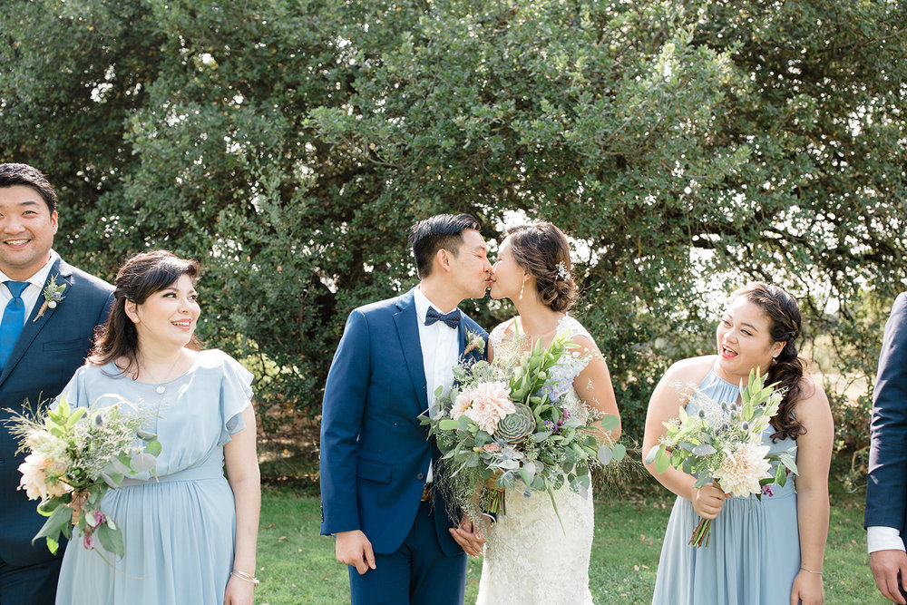 candid wedding photography of bridal party at eagle vines golf club in napa california