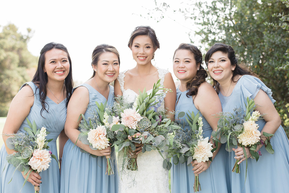 wedding photography of bridesmaids and bride at eagle vines golf club in napa california
