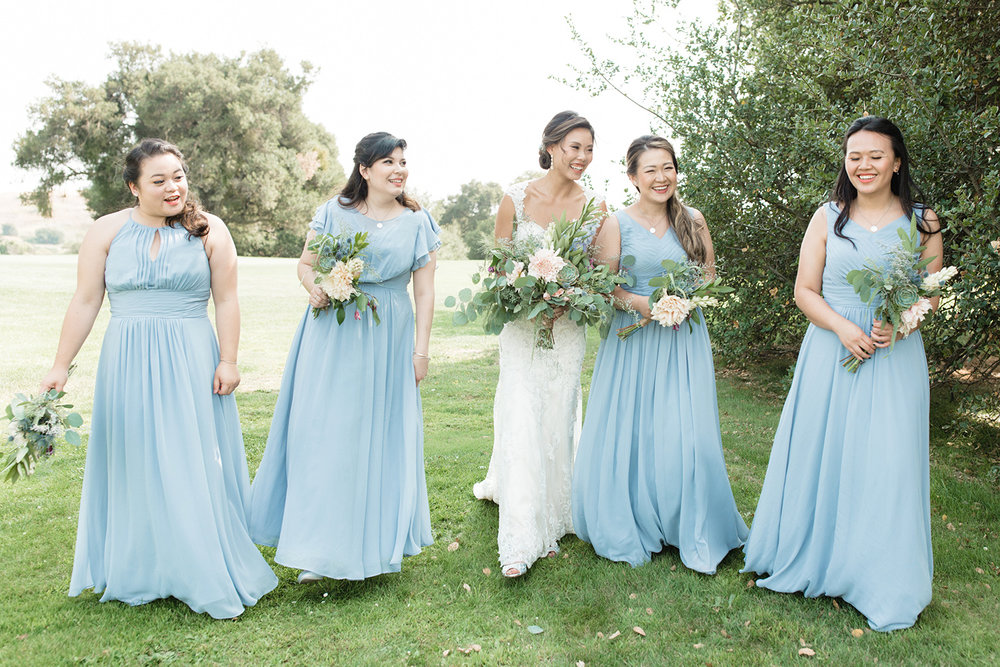 candid wedding photography of bridesmaids and bride at eagle vines golf club in napa california