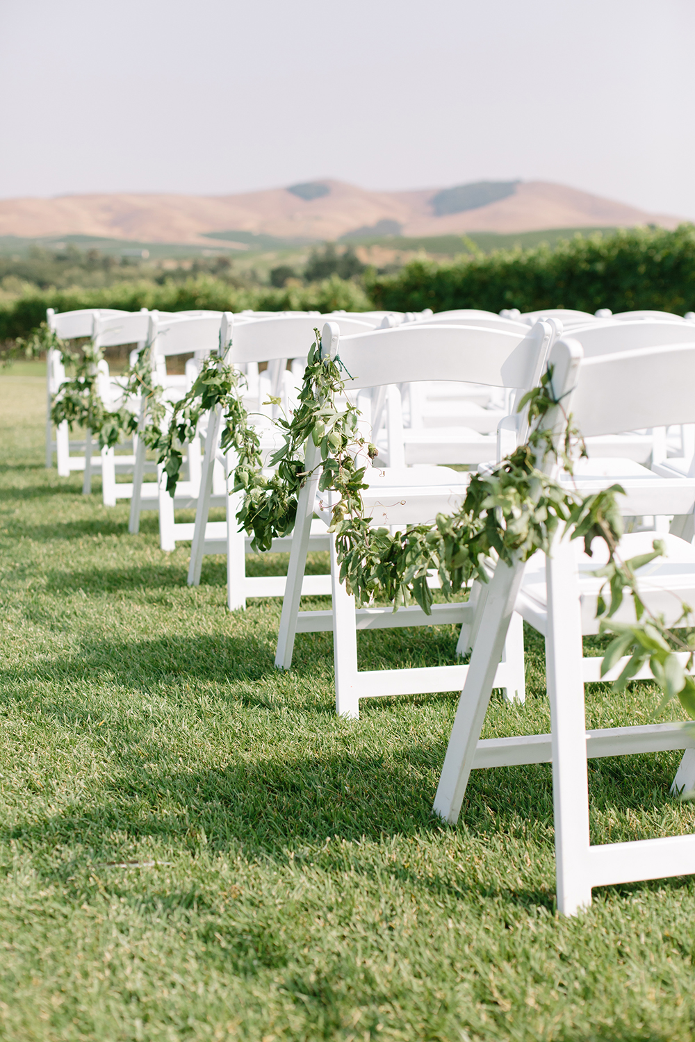 wedding photography of ceremony decoration at eagle vines golf club in napa california
