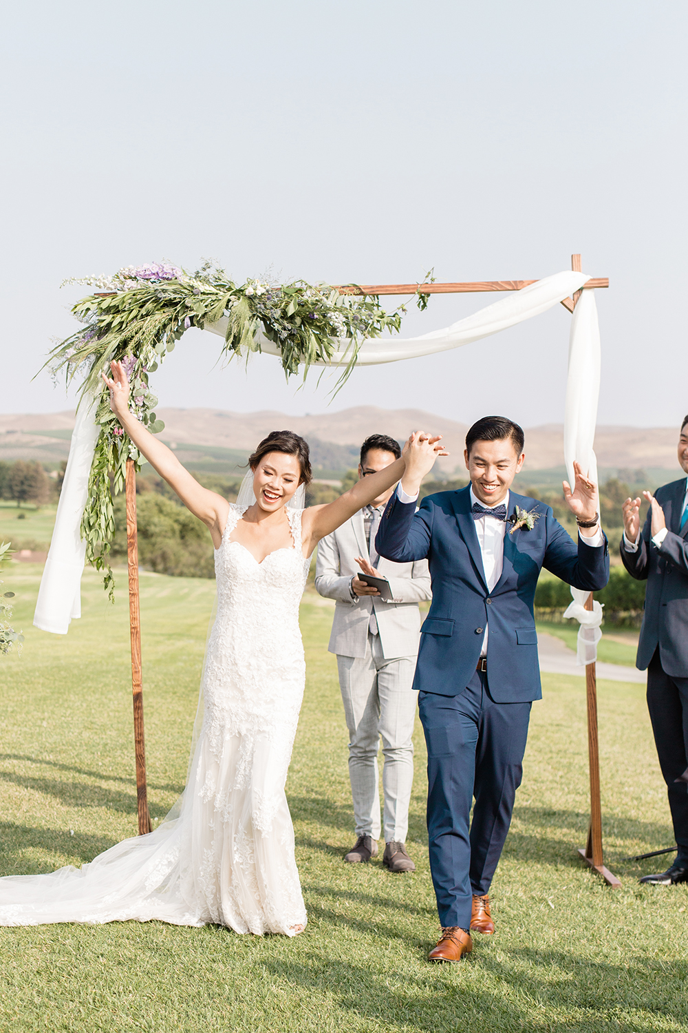 wedding photography of happy bride and groom at eagle vines golf club in napa california