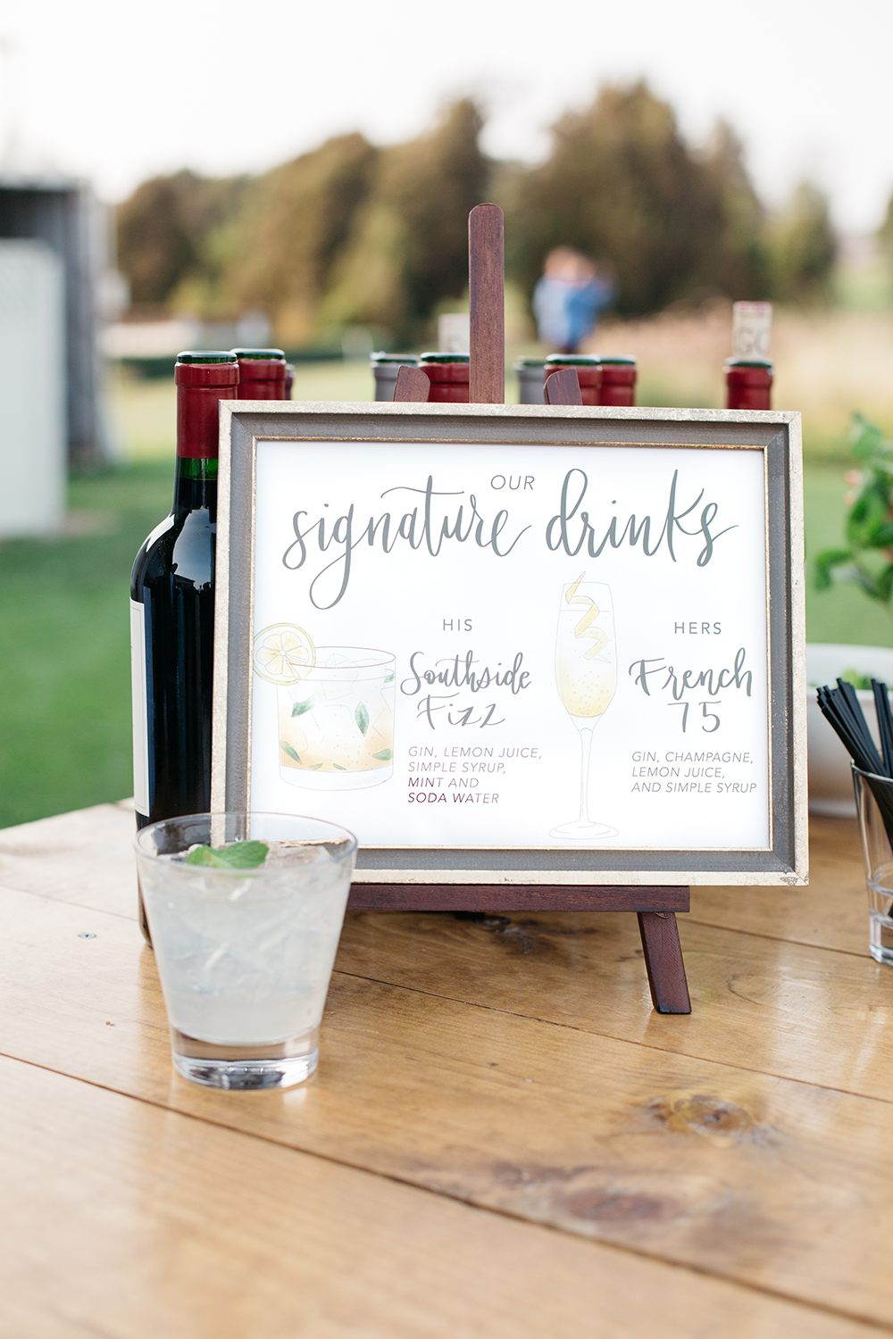 wedding photography of bride and groom signature drinks sign at eagle vines golf club in napa california