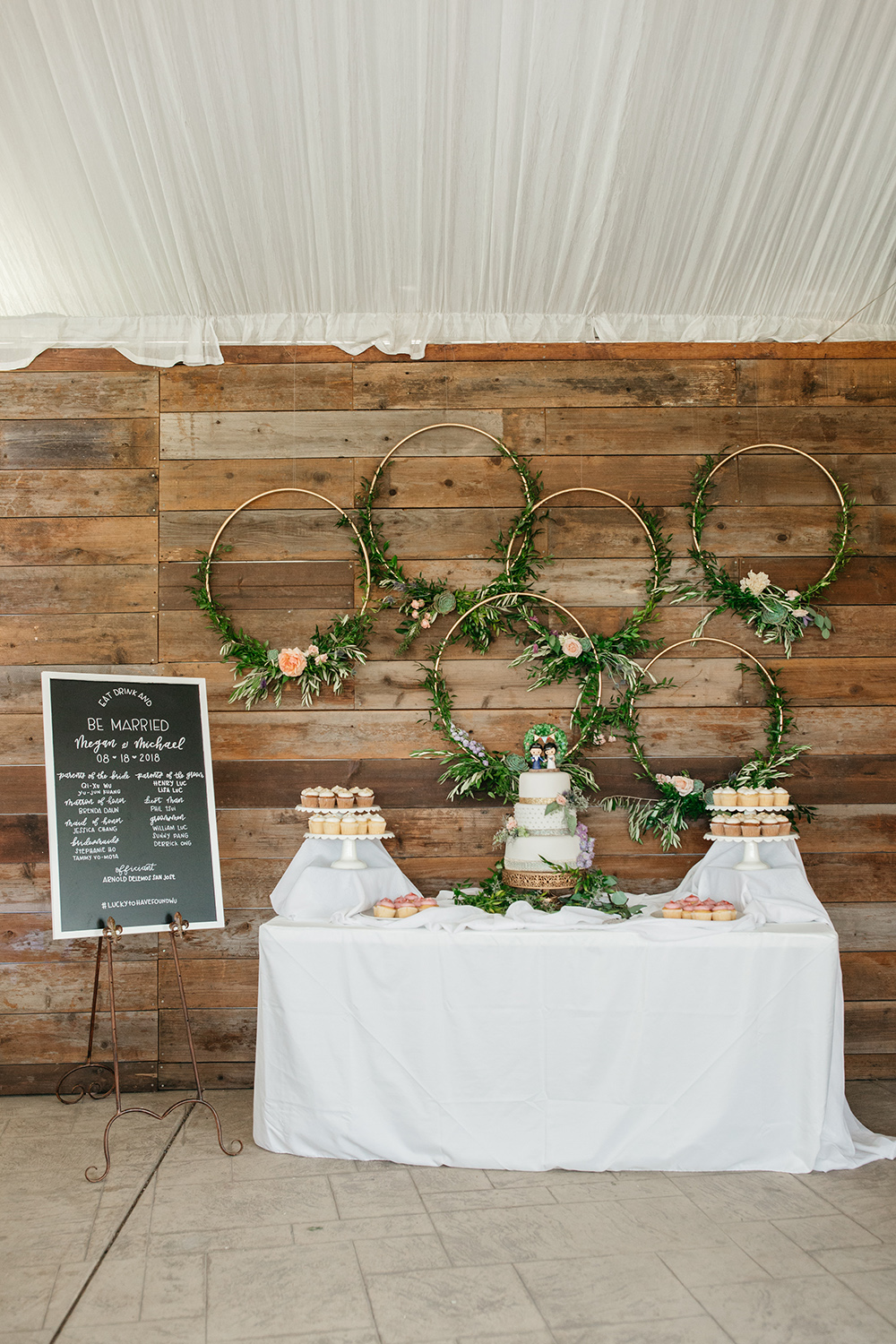 wedding photography of dessert table at eagle vines golf club in napa california