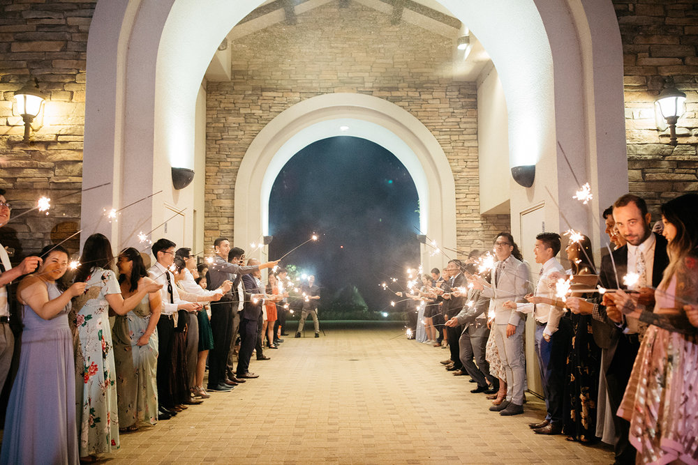 wedding sparkler exit at eagle vines golf club in napa california