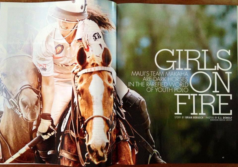 Noelani Picollo photographed by CJ DeWolf in a spread of Hana Hou! Featuring the Makaha Team- story by Brian Berusch (Hawaii polo Life Publisher)