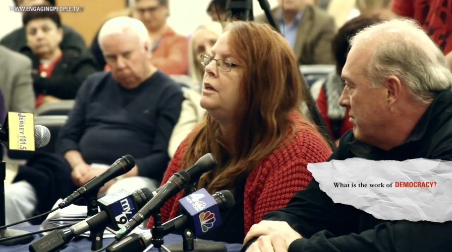 Lori Dibble, (l) and Chris Wood (r) of Woody's restaurant in Sea Bright speak out at a Senate hearing in Highlands, NJ.