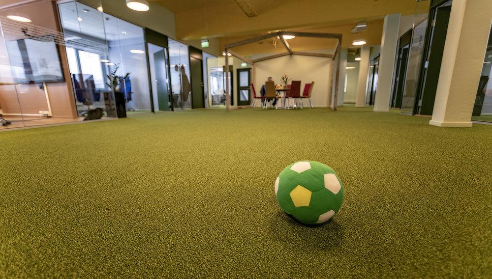 GULT TAK, GRØNT GULV:    Naturen er kommet inn i IT-bedriften Smartdok. Solgult tak og gressgrønt gulv, som innbyr til et spark på ballen.