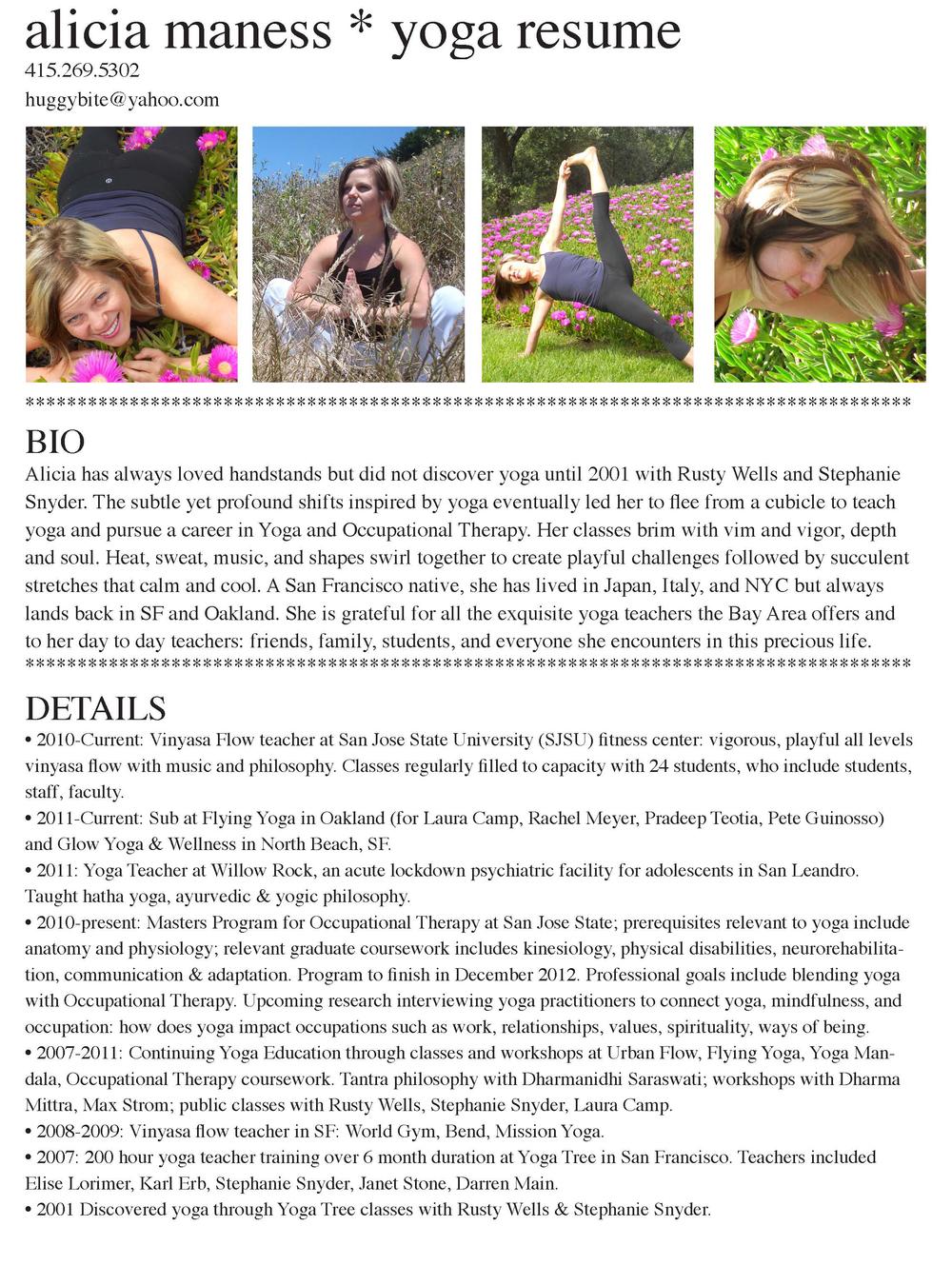 Resume - Yoga — Alicia Lofgren Therapeutics
