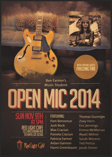 Ben Farmer's Music Student Open Mic — November 9, 2014 — Red Light Café, Atlanta, GA