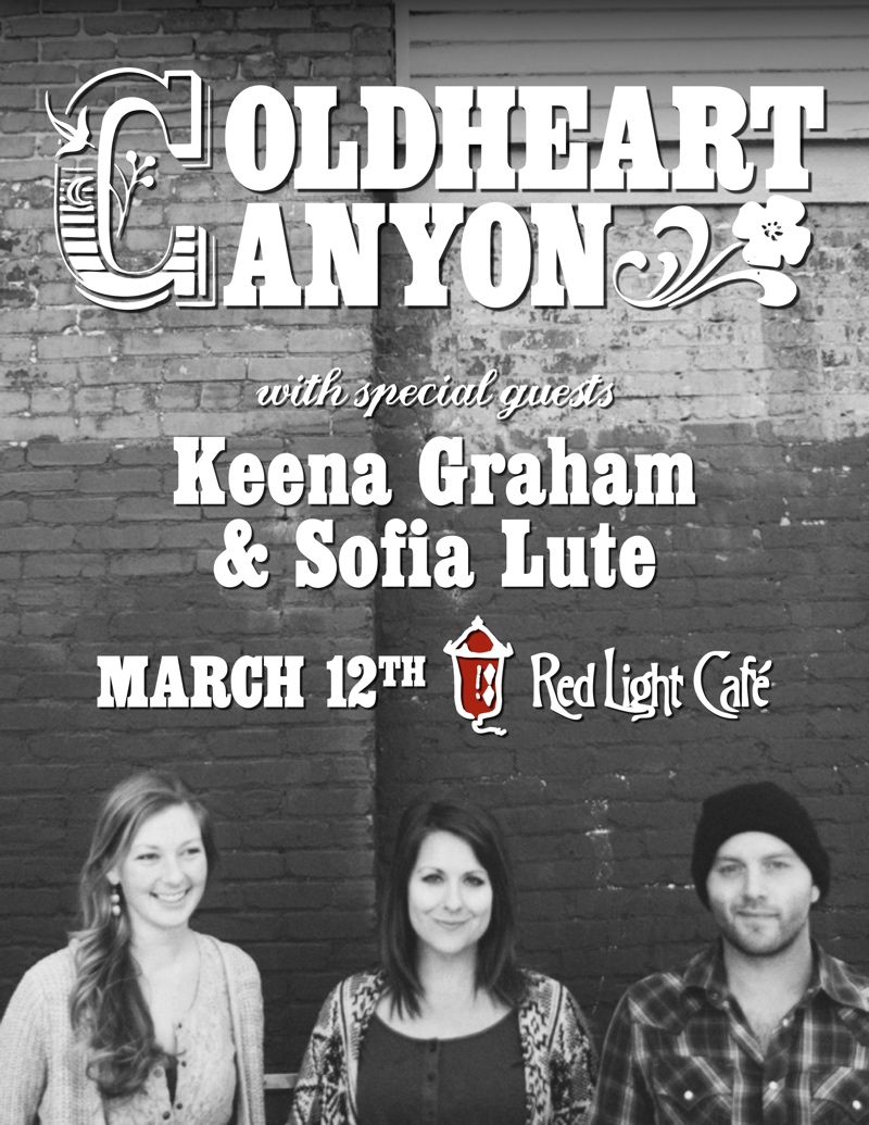 Coldheart Canyon w/ Keena Graham & Sofia Lute — March 12, 2015 — Red Light Café, Atlanta, GA