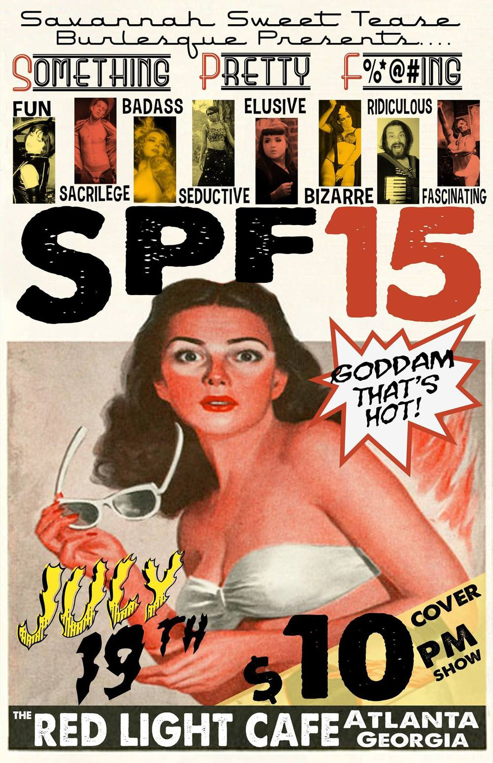 The Savannah Sweet Tease Burlesque Revue Present: SPF 15 — July 19, 2015 — Red Light Café, Atlanta, GA