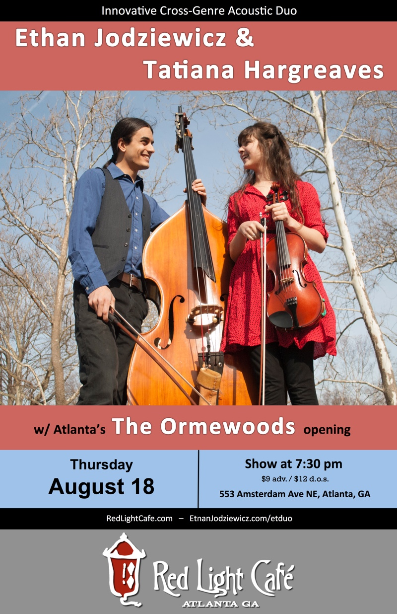 Ethan Jodziewicz & Tatiana Hargreaves w/ The Ormewoods — August 18, 2016 — Red Light Café, Atlanta, GA