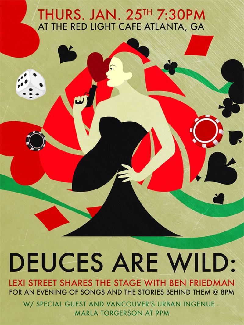 Deuces are Wild: Lexi Street & Ben Friedman w/ Marla Torgerson — January 25, 2018 — Red Light Café, Atlanta, GA
