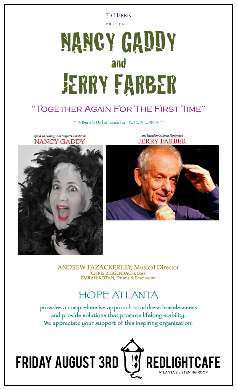 Nancy Gaddy + Jerry Farber: Together Again for the First Time! — August 3, 2018 — Red Light Café, Atlanta, GA