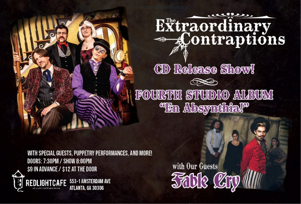The Extraordinary Contraptions CD Release Party w/ Fable Cry + more! — September 28, 2018 — Red Light Café, Atlanta, GA