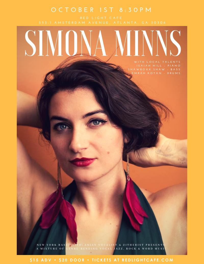 SIMONA MINNS: 'A Hunger Artist' (jazz / rock / world / original) — October 1, 2018 — Red Light Café, Atlanta, GA