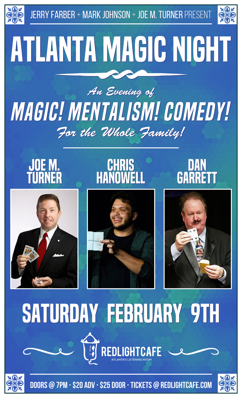 Atlanta Magic Night! w/ Michael Frisbee + Mark Johnson + Jim Leach — February 9, 2019 — Red Light Café, Atlanta, GA