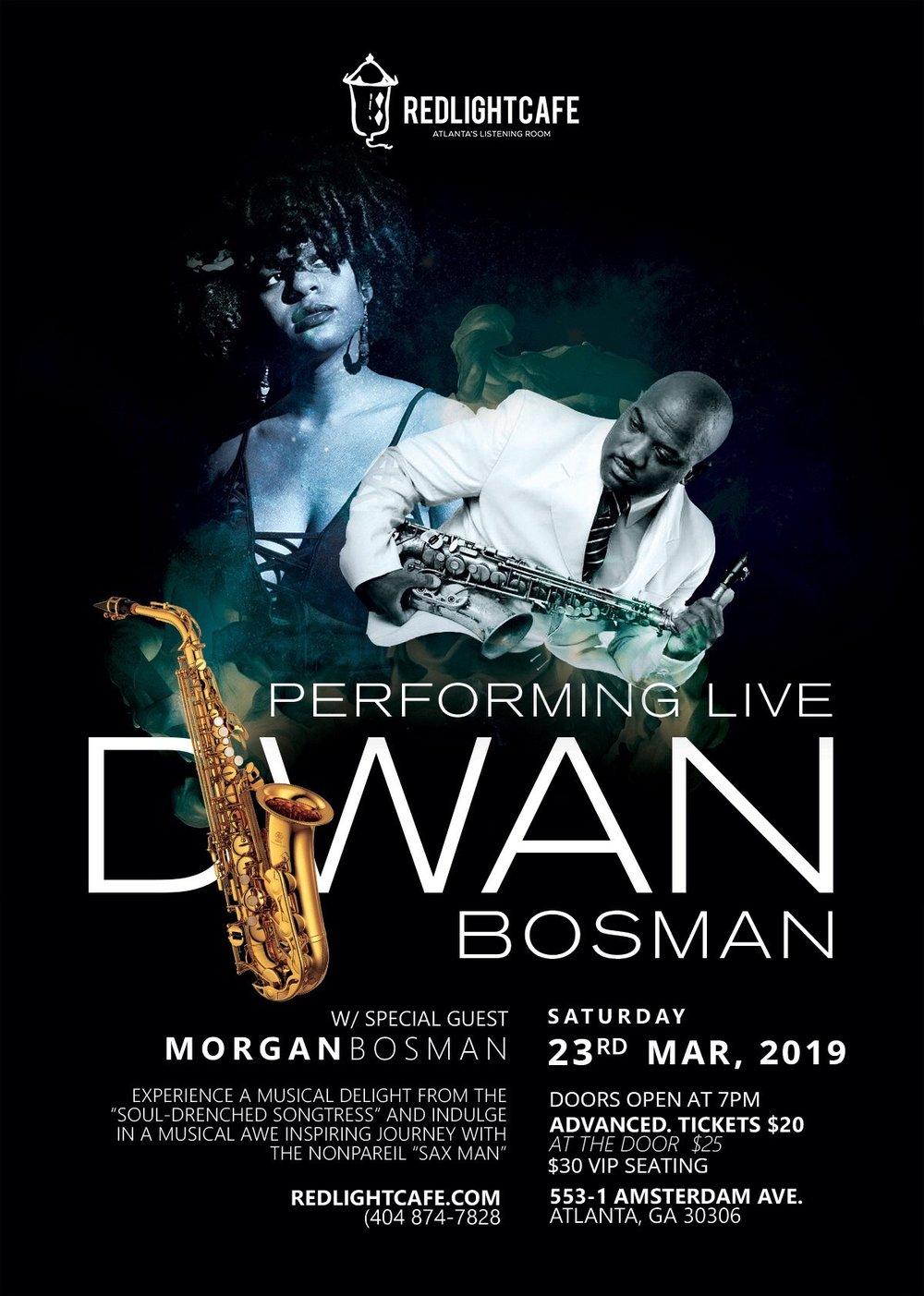 'The Sax Man' Dwan Bosman w/ Morgan Bosman — March 23, 2019 — Red Light Café, Atlanta, GA