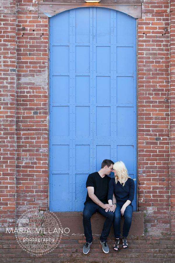 couple in front of blue door in santa rosa, ca