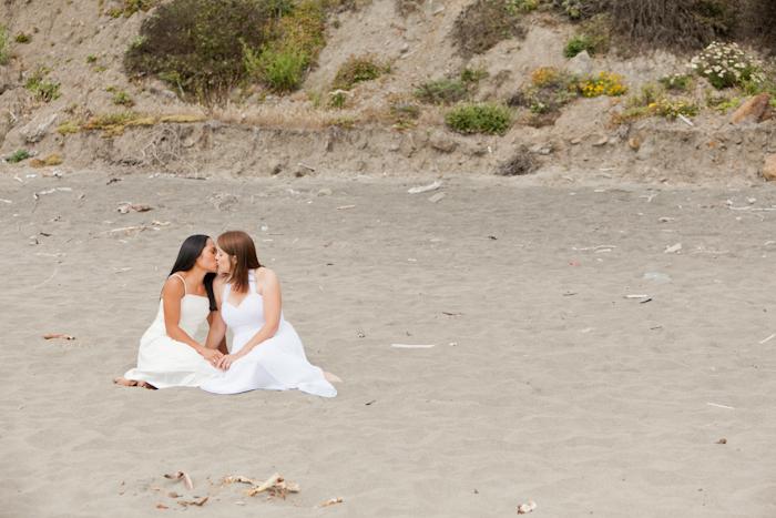 lesbian elopement bodega bay beach