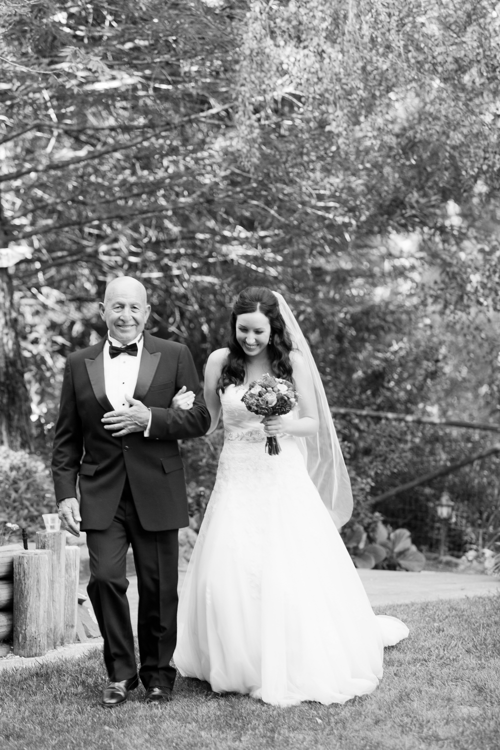 Bride walking to altar with father