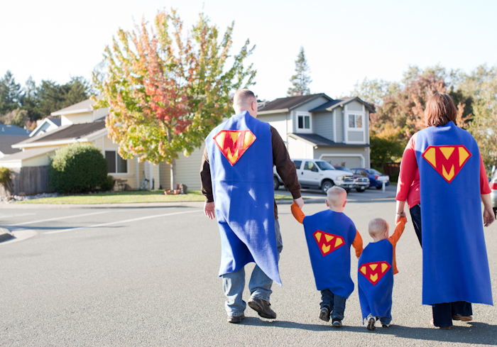 cute family photo idea superhero capes