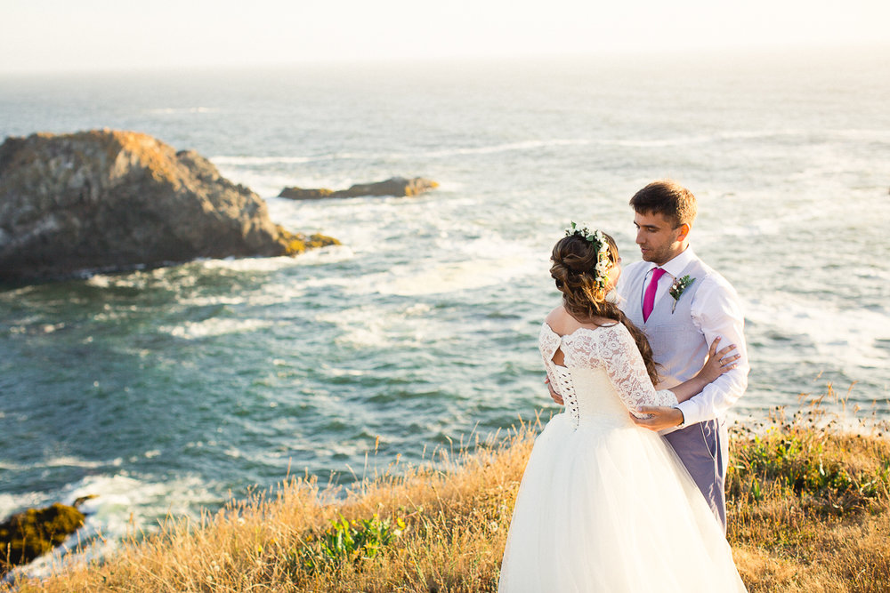 Ekaterina and Artemiy chose to elope at the gorgeous Inn at Newport Ranch in Fort Bragg since their families are all the way across the globe in Russia and Siberia. Ekaterina flew her very special dress with her from a visit home, and included personal touches that she knew her family would love and appreciate.
