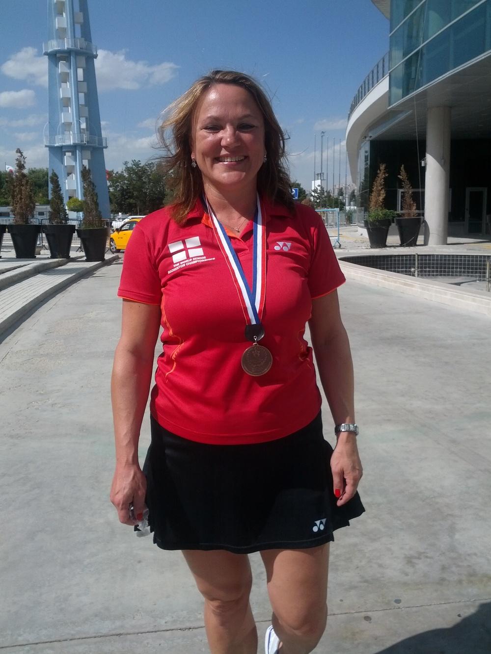 Olga Bryant, BWF World Masters Bronze Medalist XD O40.