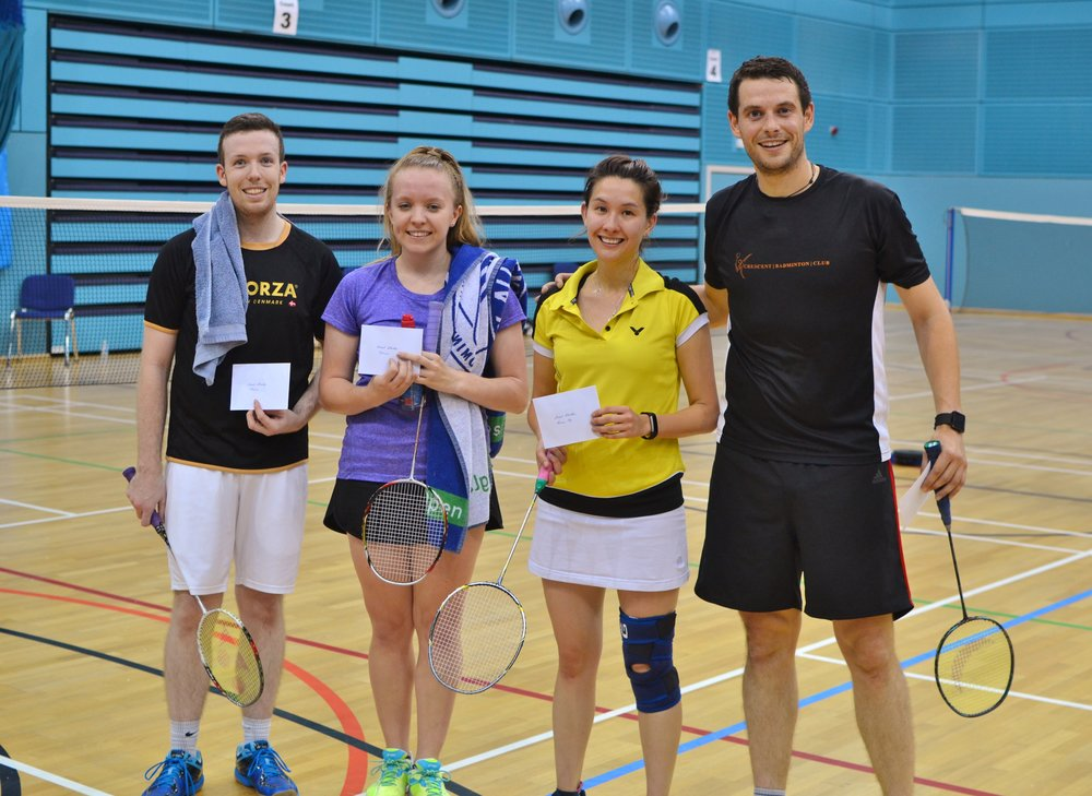 XD winners Chris Williams and Evie Hamar, and runners up Bethany Wong and Cormac Meegan