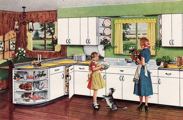 This kitchen ad shows the Youngstown Cabinets, with the quarter circle  half-shelf.