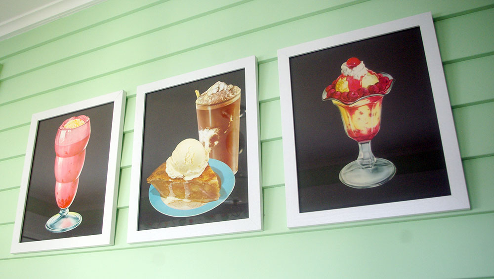 Ice-cream wall art in the eating area.