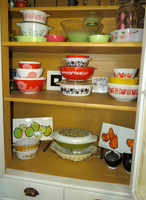 This is my china cabinet, with some of my Pyrex collection. Other pieces can be found all over my kitchen. I try to make a point to use as many pieces as possible, so that they aren't collecting dust for no reason.