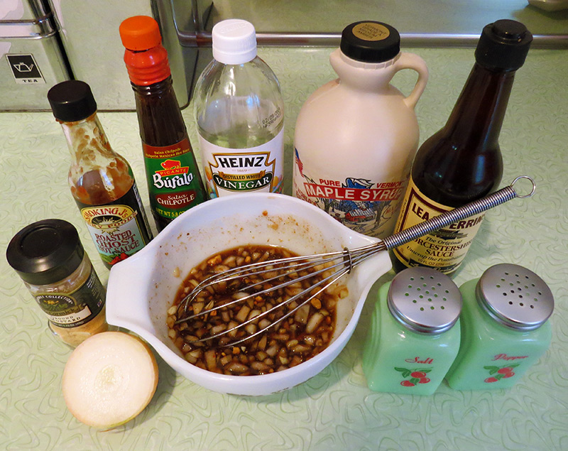 The ingredients and finished sauce