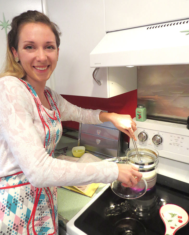 Ellina manning the double-boiler