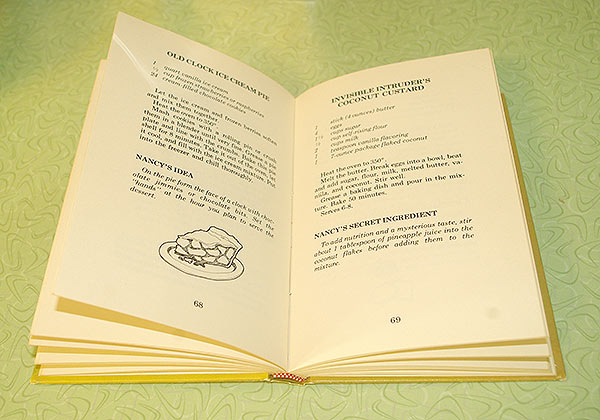 A spread of the book, including the recipe for Old Clock Ice Cream Pie