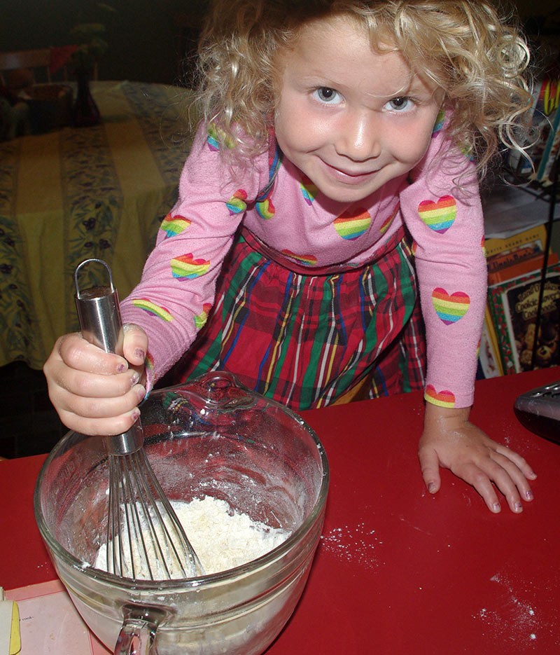 Julia mixing the batter